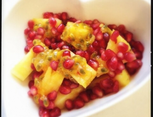 Pineapple, pomegranate and passion fruit salad